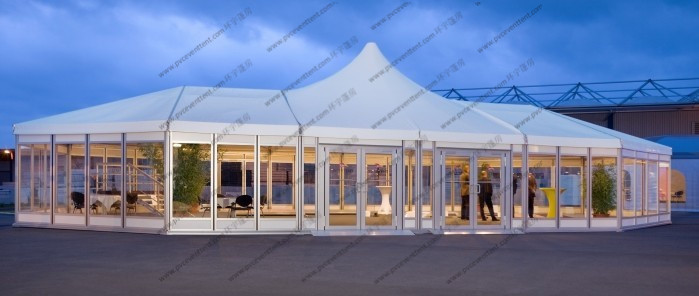 Custom Made Mixed High Peak Wedding Party PVC Tent For 500 Person capacity Event