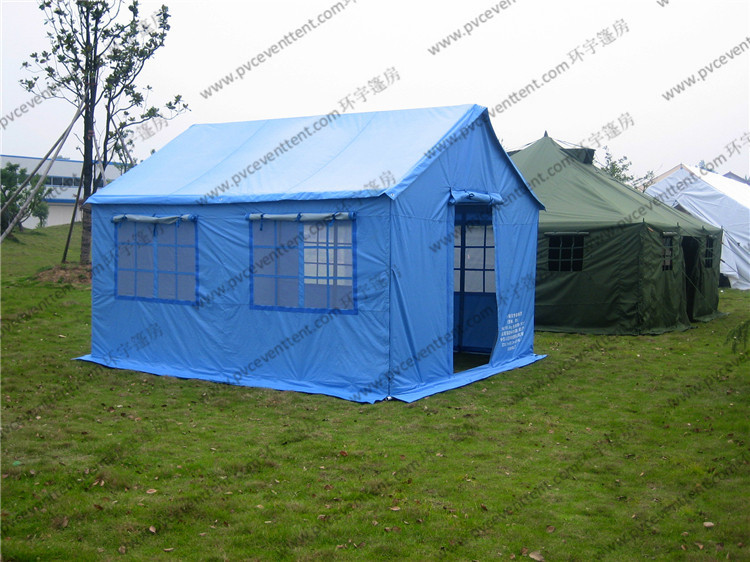 Soft PVC Windows Outdoor Event Tent , Blue Roof Cover Refugee Tent For Disaster Relief