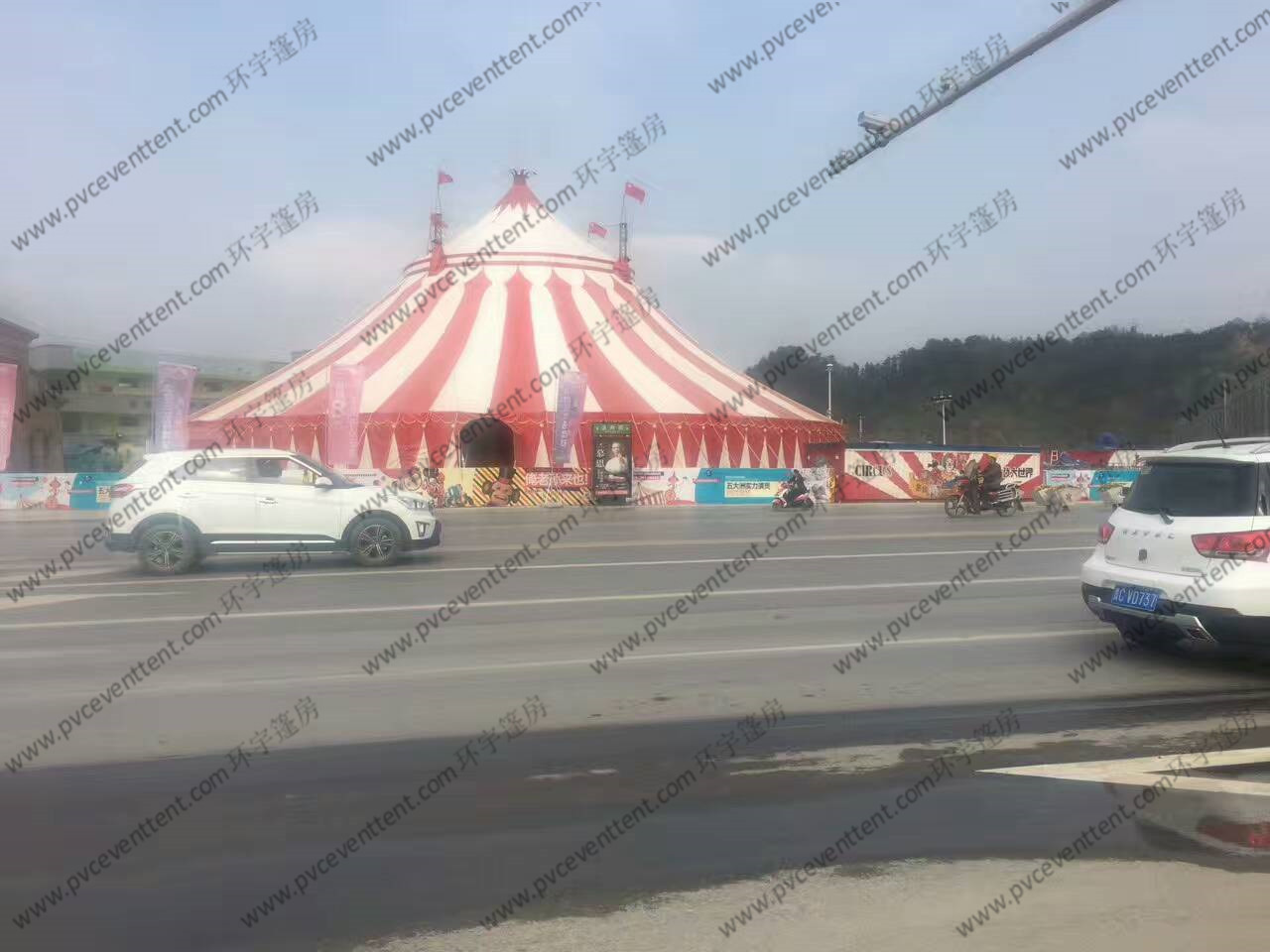 PVC Pagoda Canopy Red And White Roof Cover High Peak For Outdoor Event Trade Show