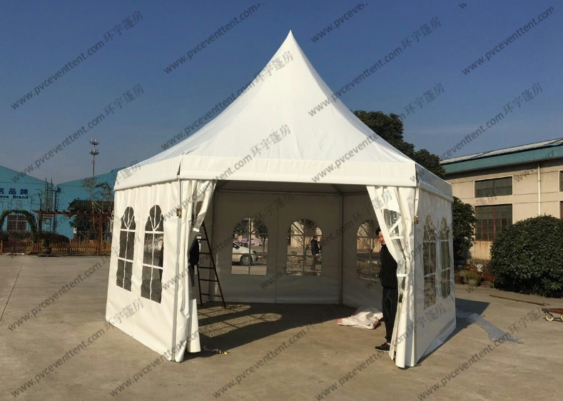 White PVC Cover Pagoda Party Tent , Waterproof Outdoor Event Tent Transparent Windows