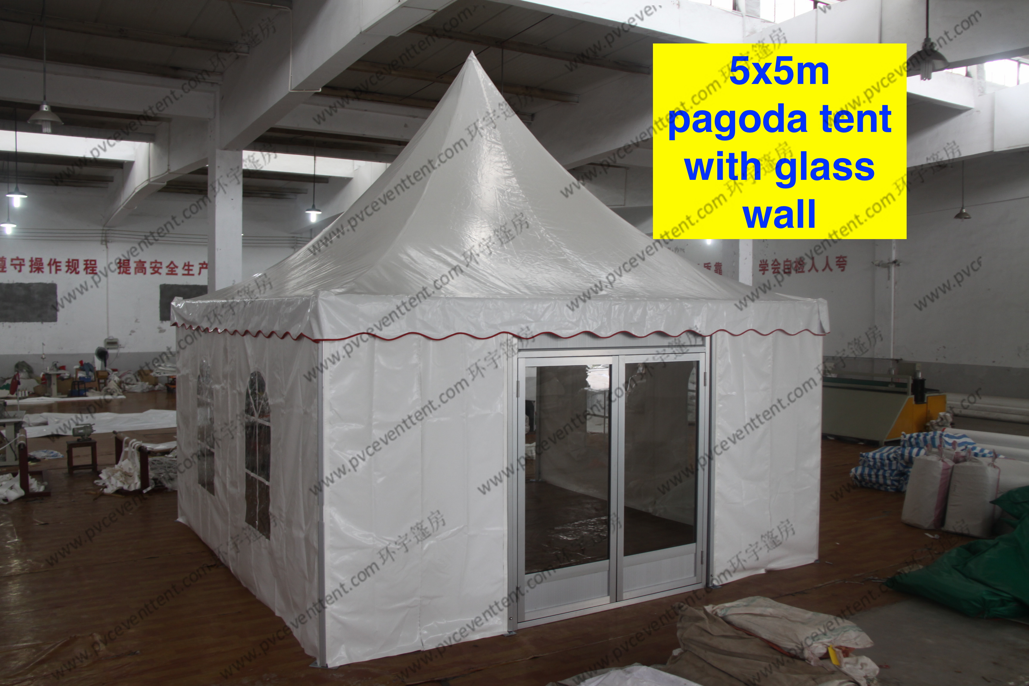 5 x 5m pagoda Party Tent Outside With PVC Window /Glass Sidwalls