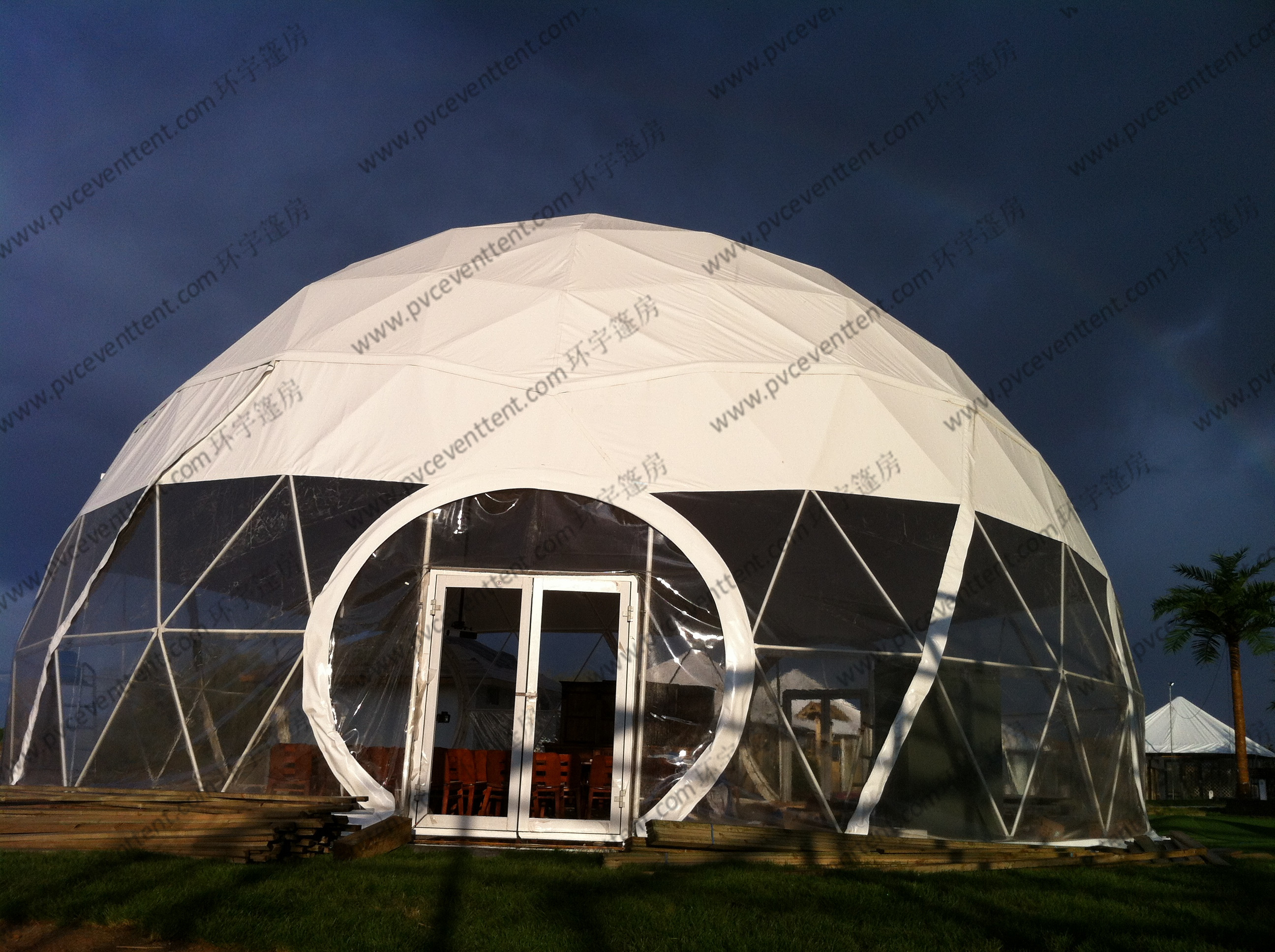UV Resistance Outdoors Geodesic Dome Tent , White Small Dome Tent With Glass Door
