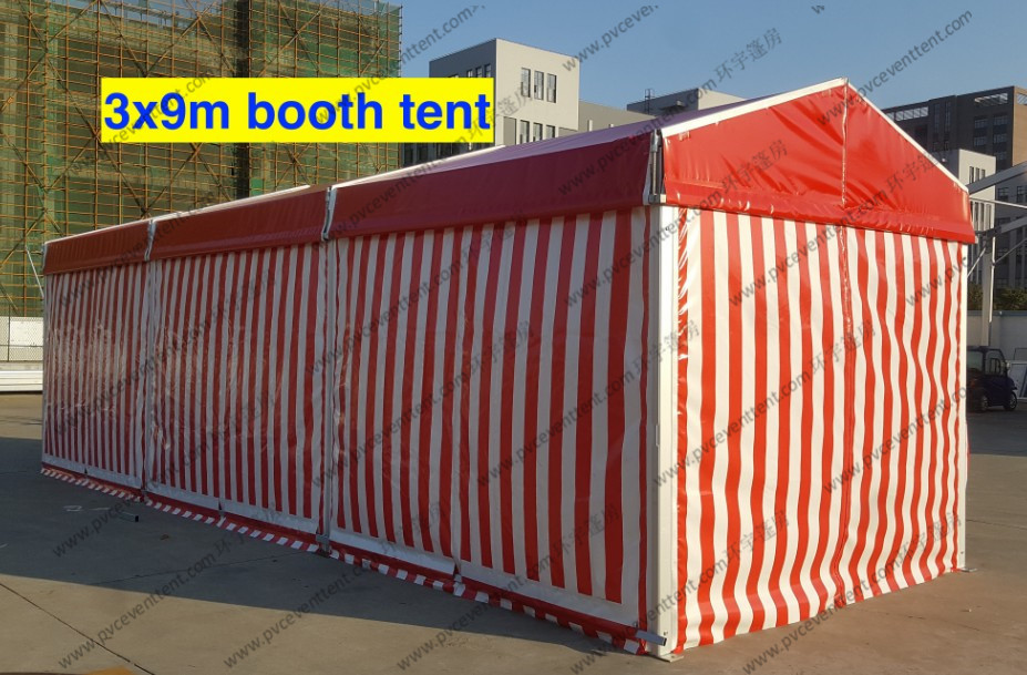 Tear Resistant Outdoor Exhibition Tents 3 x 9m Red And White Glass Solid Wall Strong