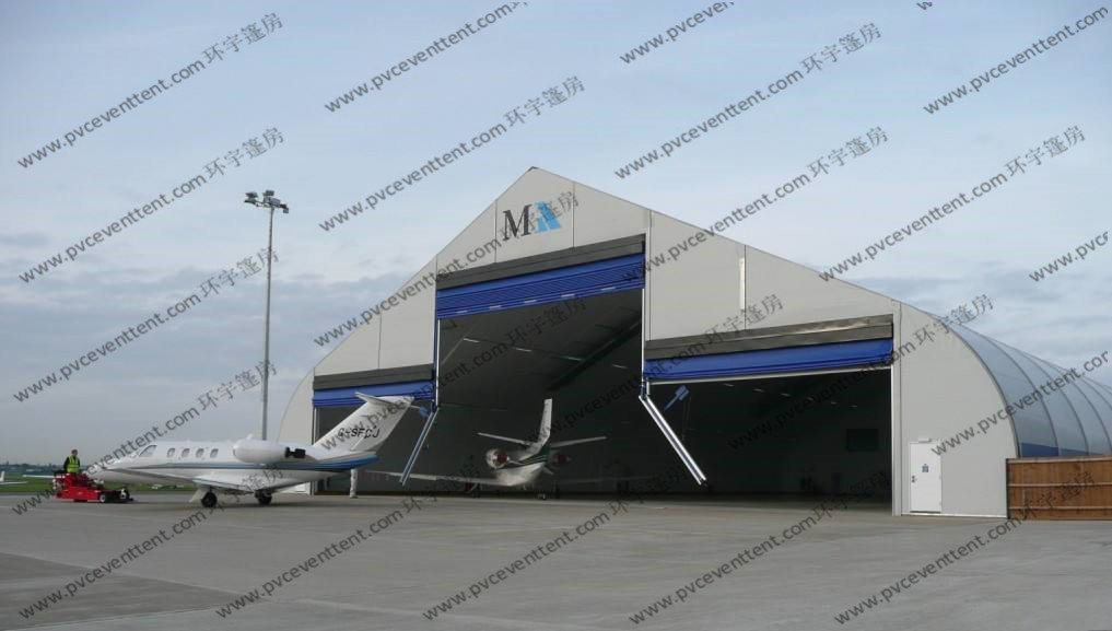 Outdoor Aircraft Hangar Tent , Temporary Garage Tent High Level Industrial Door Design